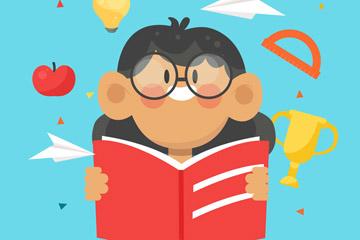 卡通读书的眼镜女孩矢量素材