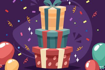 创意生日派对礼盒和气球矢量素材