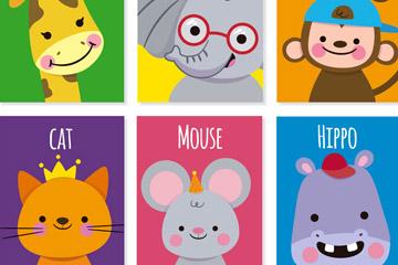 6款可爱微笑动物卡片矢量素材