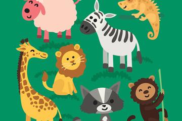 7款可爱动物设计矢量素材