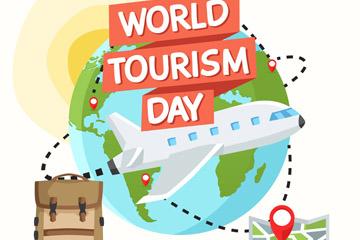 创意世界旅游日坏绕地球的飞机矢