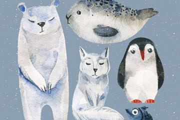 5款水彩绘北极动物矢量素材