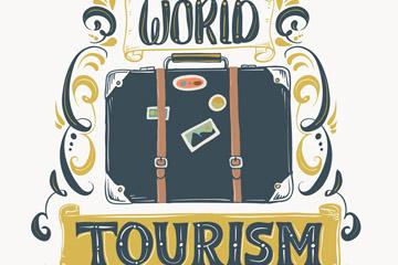 手绘世界旅游日行李箱矢量素材