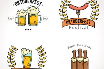 4款创意啤酒节标签设计矢量素材