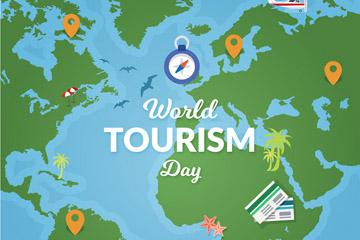 创意世界旅游日地图矢量素材