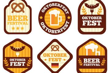 6款创意啤酒节徽章矢量素材