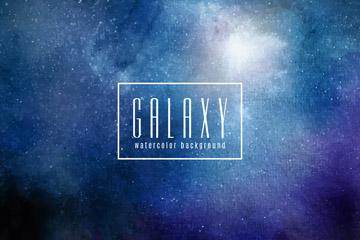 水彩绘蓝色星系背景矢量素材