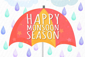 彩色雨季雨中的伞矢量素材