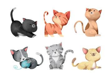 6款水彩绘猫咪设计矢量素材