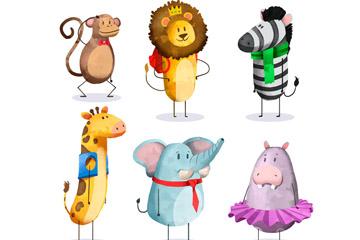 6款水彩绘着装动物矢量素材