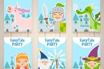 6款创意童话派对卡片矢量素材