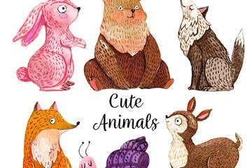 6款手绘可爱动物设计矢量素材