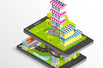 创意手机上的立体商铺矢量素材