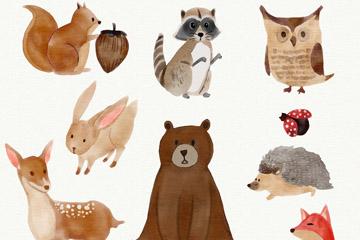 9款水彩绘动物设计矢量素材
