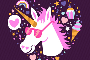 粉色独角兽头像设计矢量素材