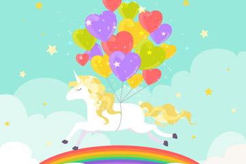 彩色气球束和独角兽矢量素材