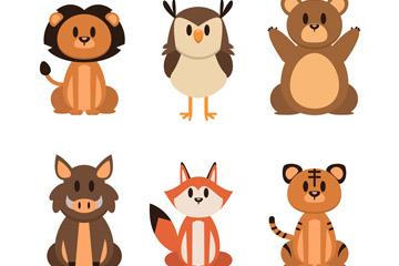 6款创意野生动物矢量素材