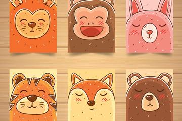 6款手绘眯眼动物头像卡片矢量素