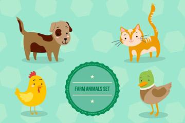 7款可爱农场动物设计矢量图