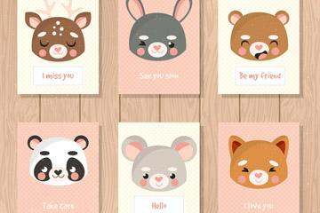 6款可爱动物头像语言卡片矢量图