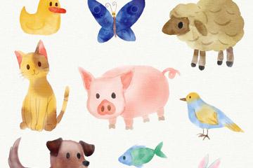 9款水彩绘可爱动物设计矢量素材