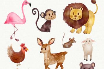 9款水彩绘动物矢量素材