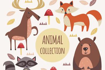 4款创意森林动物矢量素材