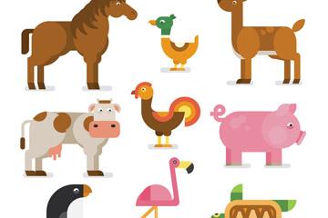 9款扁平化农场动物矢量素材