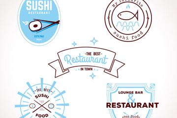 5款创意餐馆标签矢量素材