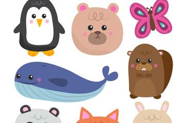 8款卡通动物设计矢量素材