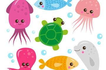 7款卡通海洋动物矢量素材