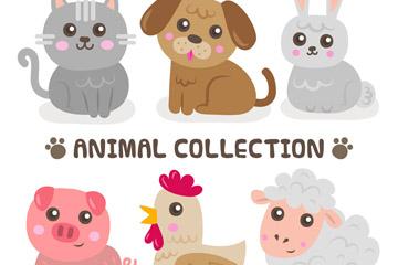6款卡通农场动物设计矢量素材