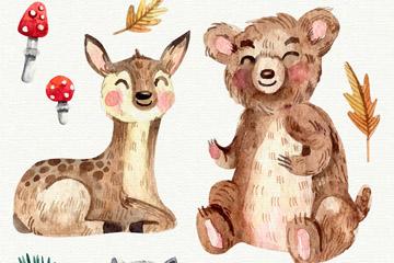 3款水彩绘微笑森林动物矢量素材