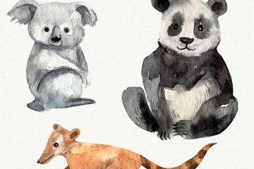 3款水彩绘野生动物矢量素材