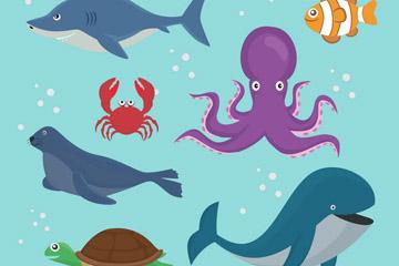 7款卡通海洋动物设计矢量素材