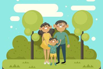 卡通郊外玩耍的三口之家矢量图