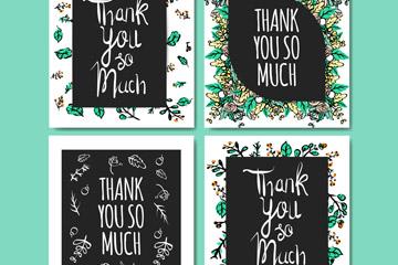 4款彩绘花草感恩卡片矢量素材
