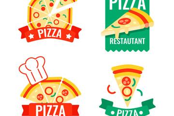 4款彩色披萨标签设计矢量素材