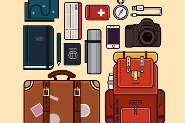 13款创意旅行物品设计矢量图