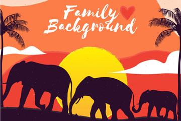 夕阳下的大象家族剪影矢量素材