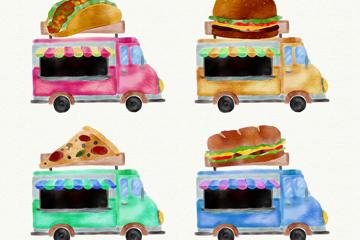 4款水彩绘流动快餐车矢量素材