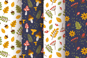 4款彩色秋季树叶花草无缝背景矢量图
