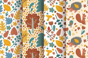 4款可爱秋季动植物无缝背景矢量图