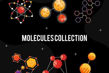 6款创意分子结构设计矢量素材