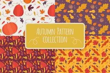 4款彩绘秋季无缝背景矢量图