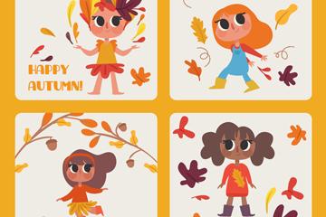 4款彩绘秋季女孩卡片矢量素材