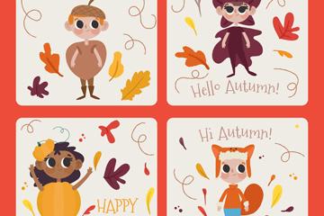 4款可爱秋季儿童卡片矢量素材