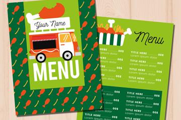 绿色快餐车菜单正反面矢量素材