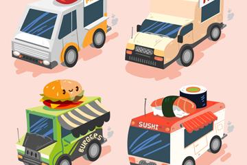4款创意立体快餐车矢量素材