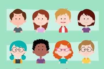 12款微笑儿童头像矢量素材